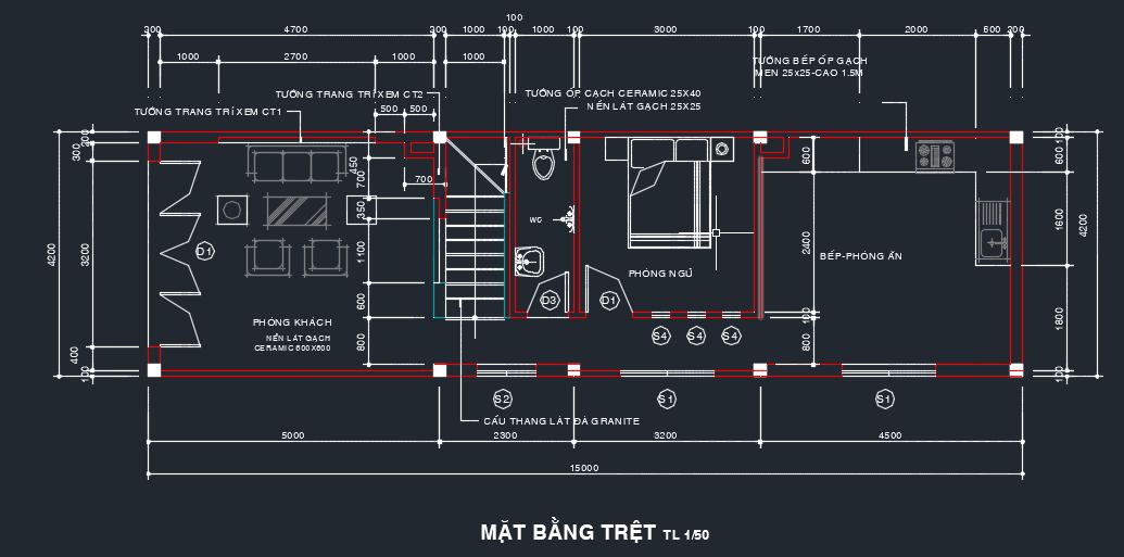 mẫu nhà phố 3 tầng 65m2