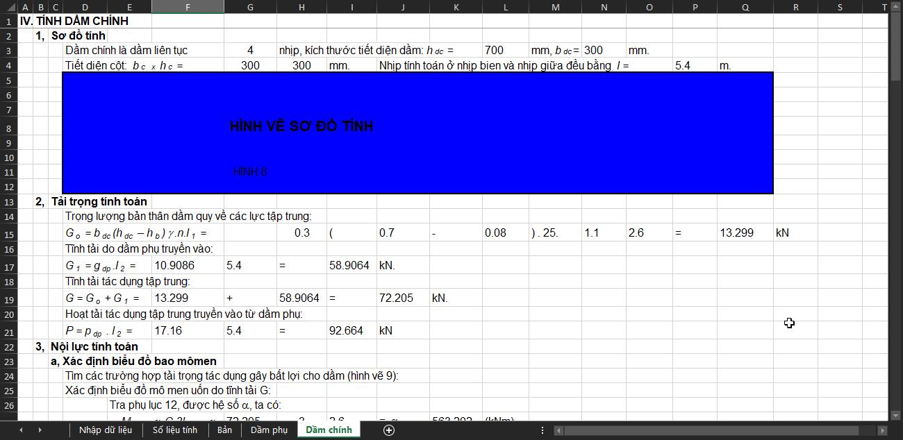 bảng tính toán cấu kiện cơ bản