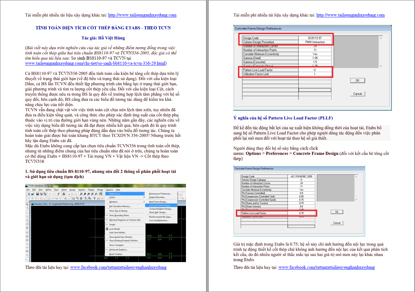 Tính toán diện tích cốt thép theo TCVN bằng Etabs