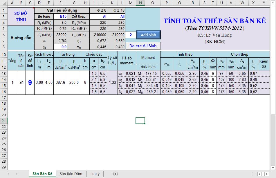 Bảng Excel tính toán thép sàn Bảng tính thép sàn