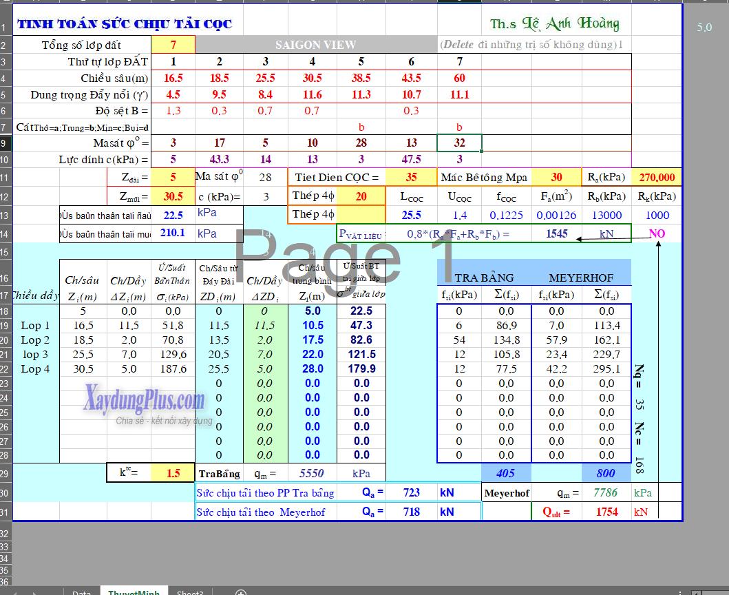 Bảng tính toán sức chịu tải của cọc
