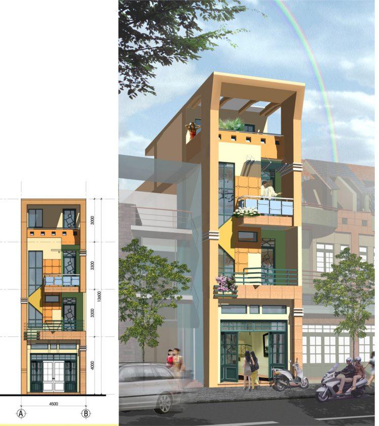 Mẫu nhà phố 4 tầng đẹp 110m2 MAKET 1 copy