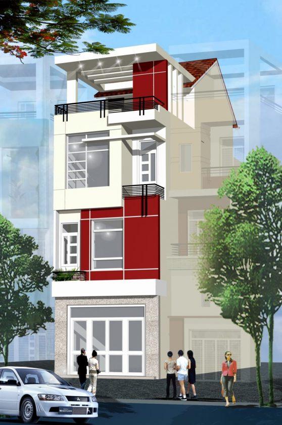 Mẫu nhà phố 4 tầng 60m2 ở Long Biên PC Nha pho 4 x 15 x 4
