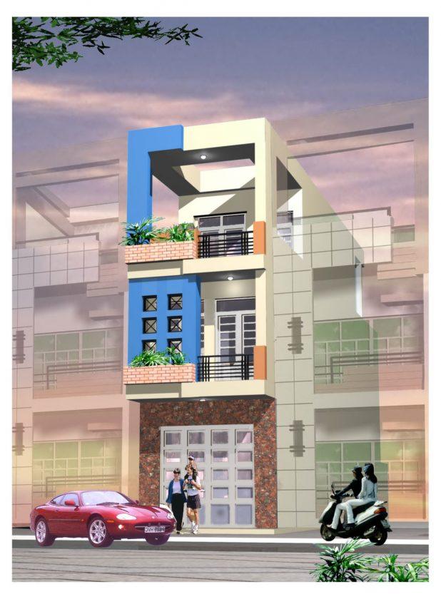 Mẫu nhà phố 3 tầng 65m2 PC nhapho 4.2 x 15 x 3