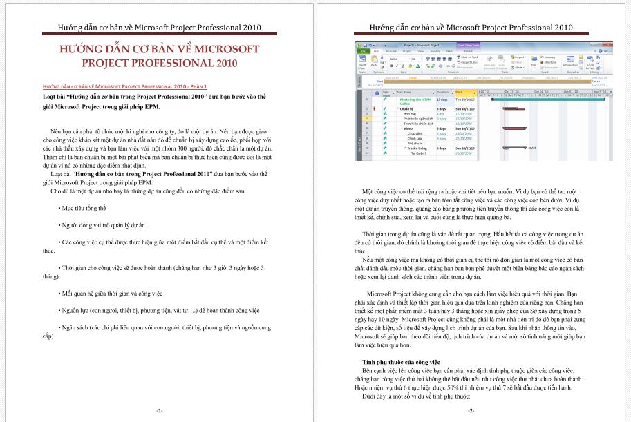 Hướng dẫn cơ bản về Project 2010 hướng dan cơ bản vè project