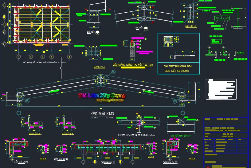 Bản vẽ kết cấu mái nhà công nghiệp mái nhà cn