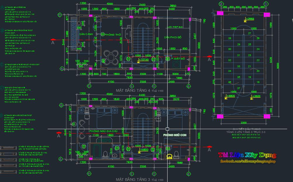thiết kế kiến trúc nhà dân 5 tầng