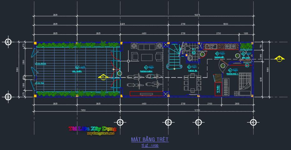 mẫu nhà phố 2 tầng 12x5m