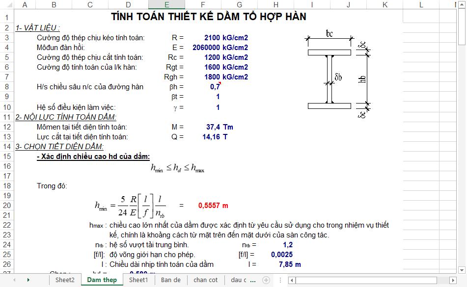 bảng tính toán thiết kế tổ hợp hàn