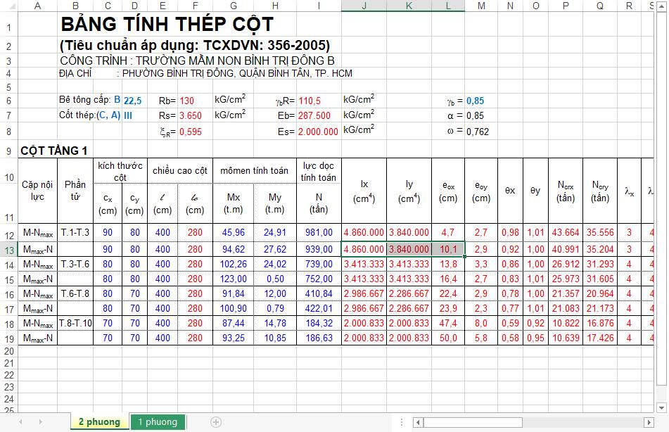 Bảng tính thép cột (TCXDVN 356-2005) tính thép cột