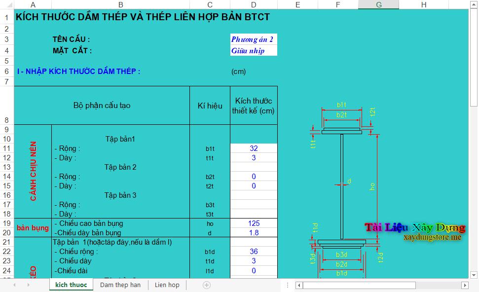 File Excel Thiết Kế Cầu Thép thiết kế thep