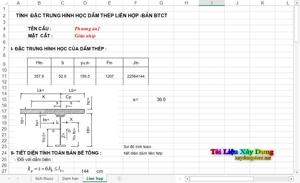File Excel Thiết Kế Cầu Thép thiets kế thep