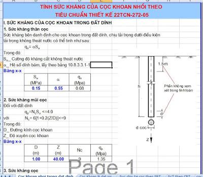 Tính sức kháng của cọc khoan nhồi - 22TCN 272-05 tinh suc khang cua coc khoan nhoi