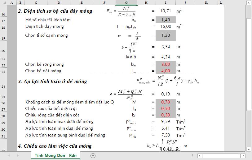 BẢNG EXCEL TÍNH TOÁN CHỌN MÓNG screenshot 14