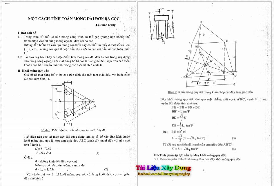 Cách tính toán móng đài đơn ba cọc