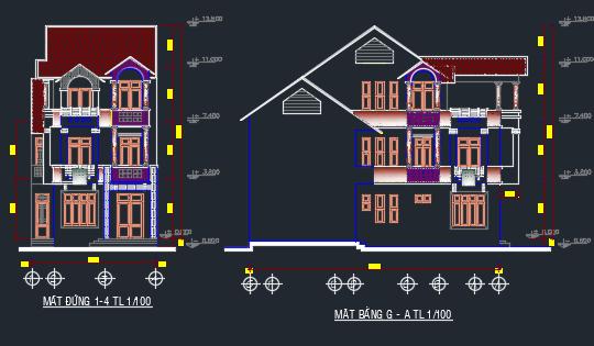 Mẫu biệt thự phố 8 x 16m