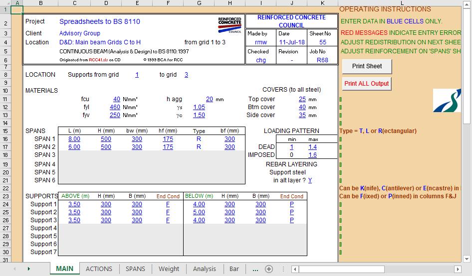Bảng tính kết cấu theo BS 8110