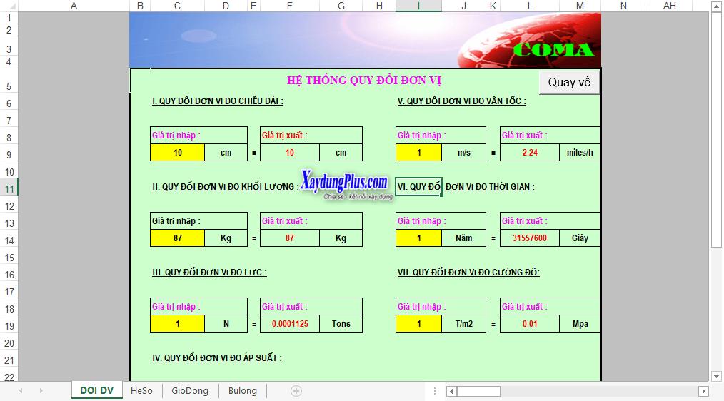 Bảng tính toán gió cột đơn thân