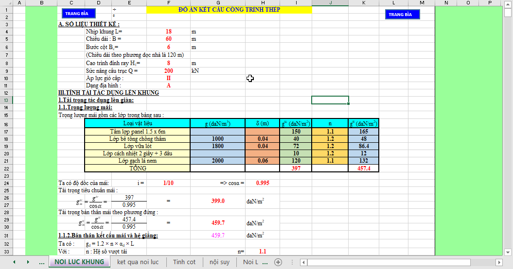 bảng tính toán đồ án thép