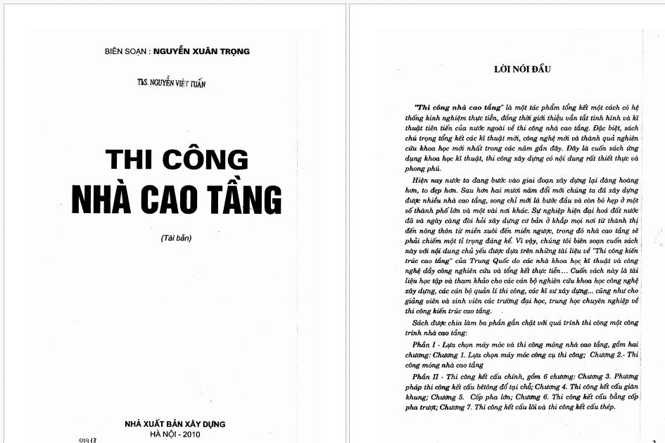 Giáo trình thi công nhà cao tầng - Nguyễn Xuân Trọng