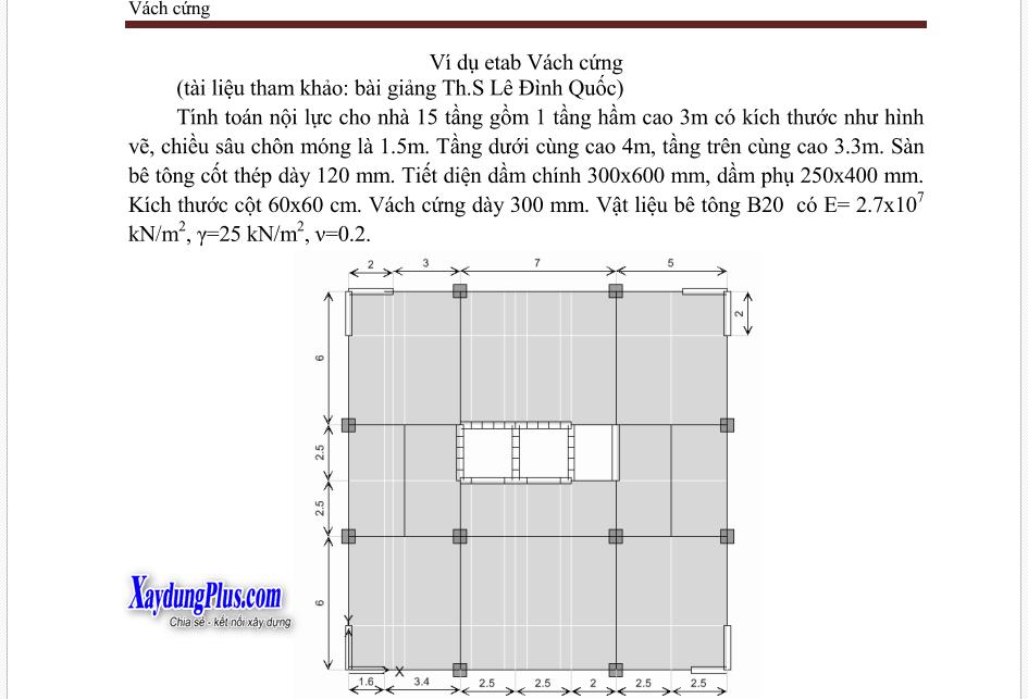 ví dụ sử dụng etabs tính toán vách cứng