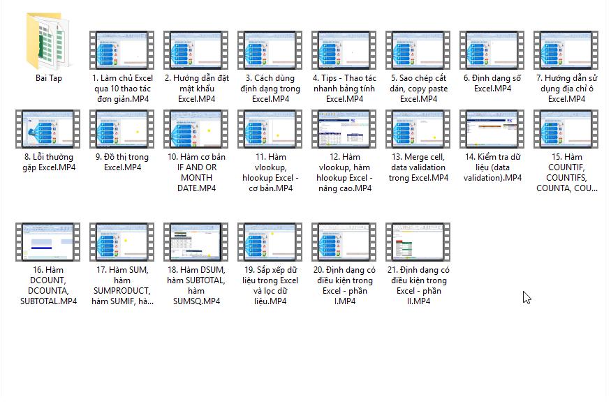 Bộ 20 video học Excel cơ bản