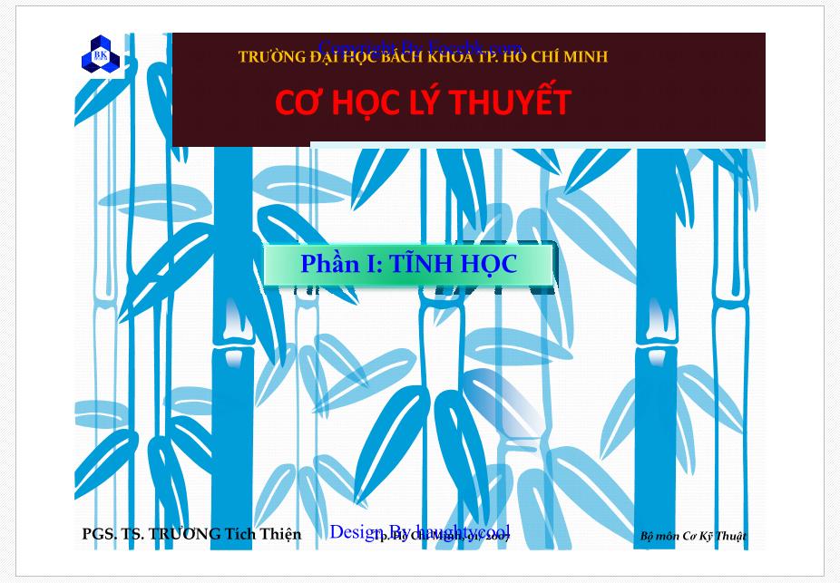 Giáo trình cơ học lý thuyết - Trường ĐHBK Tp. Hồ Chí Minh