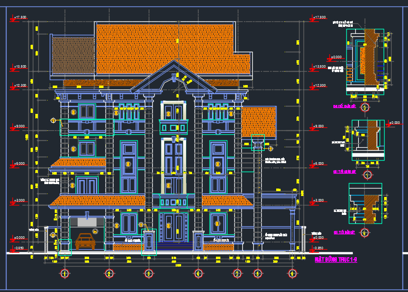 Hồ sơ mẫu biệt thự hiện đại 5 tầng 15x18m