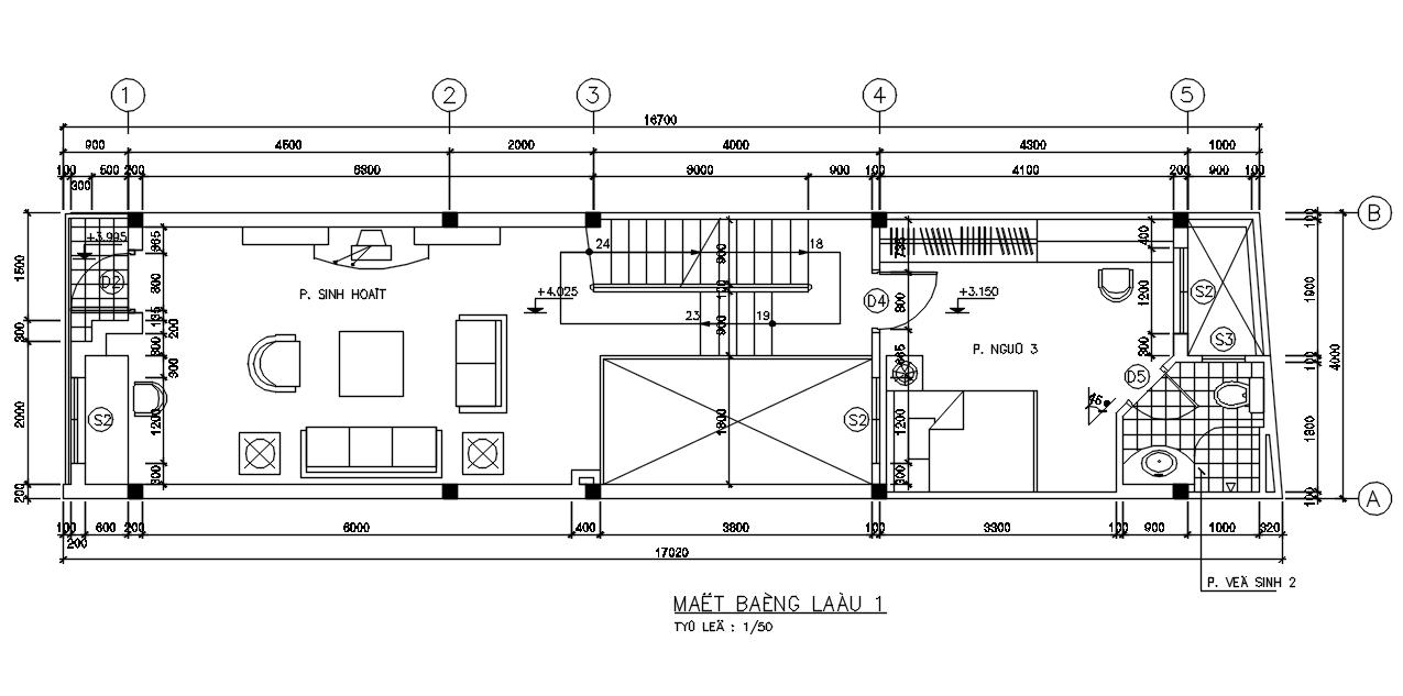 Kiến trúc nhà phố 4 tầng đơn giản
