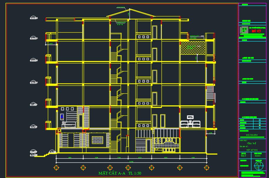 Hồ sơ thiết kế nhà phố 5 tầng Hồ sơ thiết kế nhà phố 5 tầng