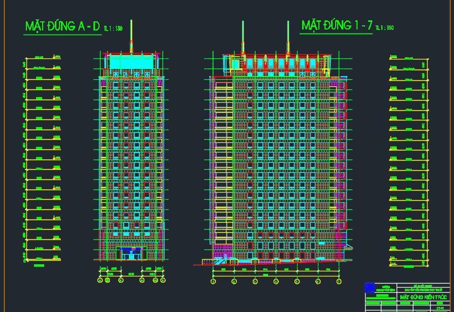 Mẫu bản vẽ cao ốc 18 tầng 2 tầng hầm