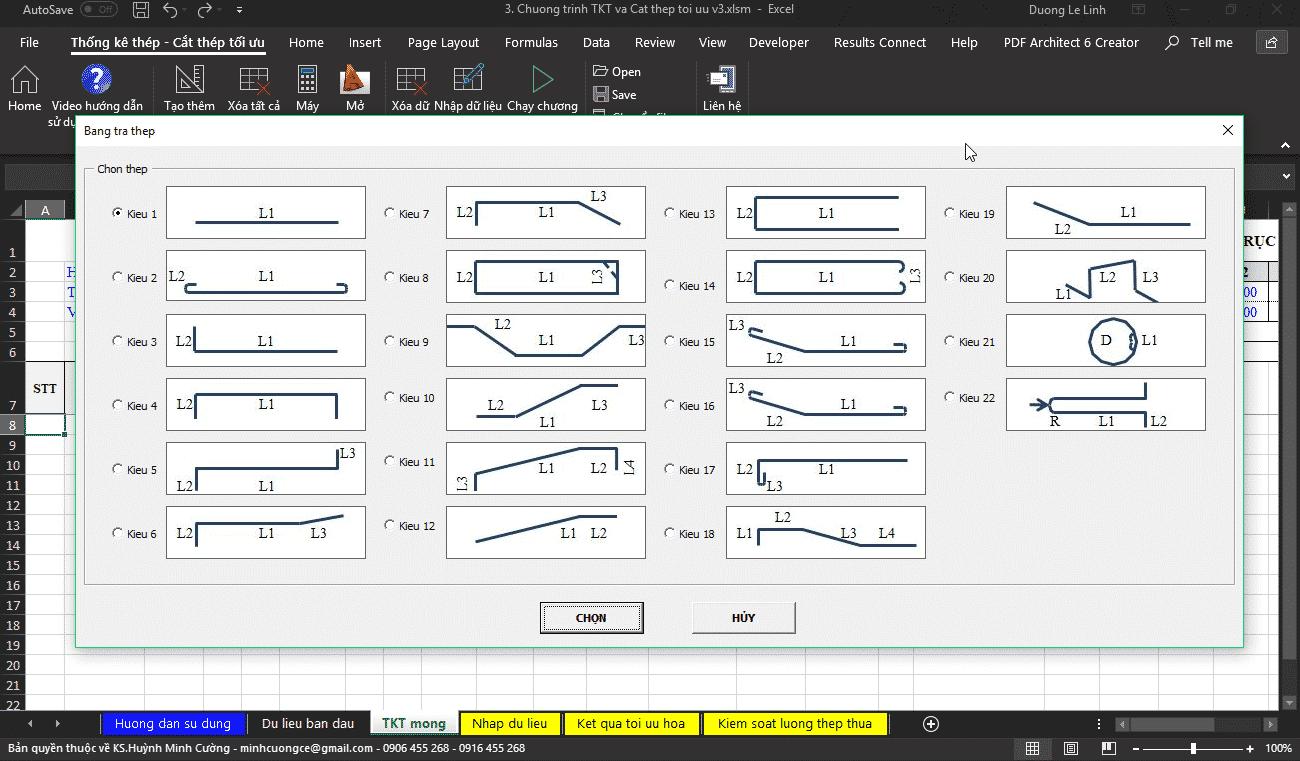 Chương trình thống kê thép và cắt thép tối ưu Chương trình thống kê thép và cắt thép tối ưu1