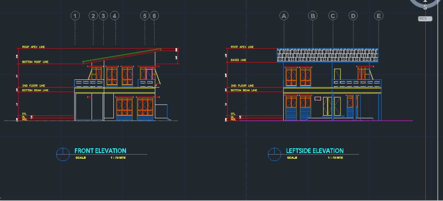 Mẫu bản vẽ kiến trúc nhà 2 tầng Mẫu bản vẽ kiến trúc nhà 2 tầng 1