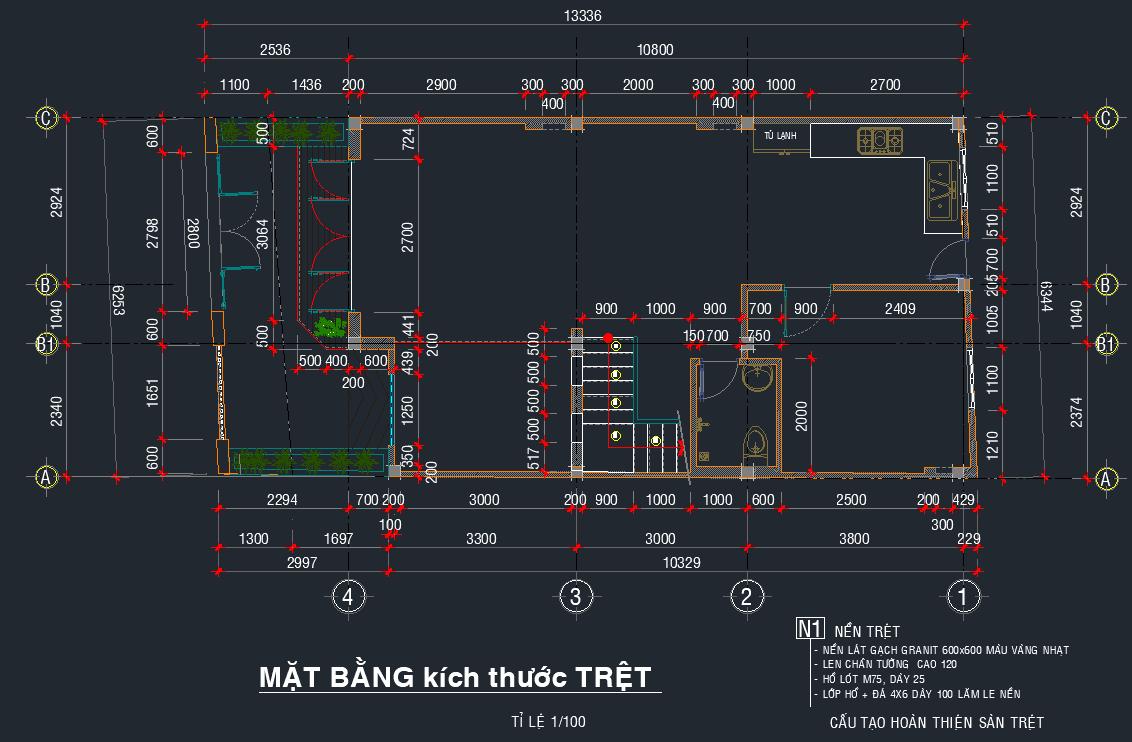 Hồ sơ mẫu bản vẽ nhà phố 4 tầng 6.3x13.3m Hồ sơ mẫu bản vẽ nhà phố 4 tầng