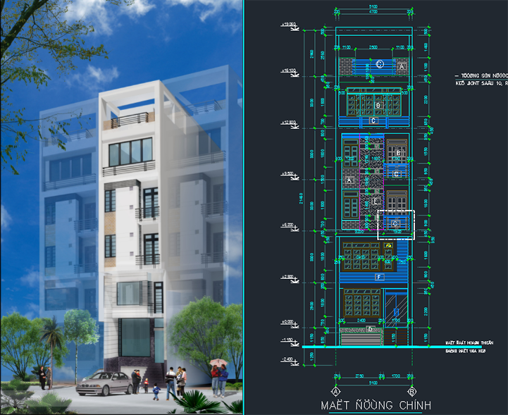 Mẫu nhà phố 5 tầng 60m2 full