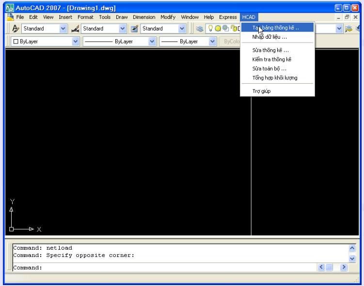 Phần mềm thống kê cốt thép HCAD trong AutoCAD