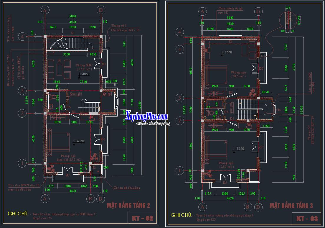 Hồ sơ mẫu nhà phố 4 tầng 5x11m Hồ sơ mẫu nhà phố 4 tầng