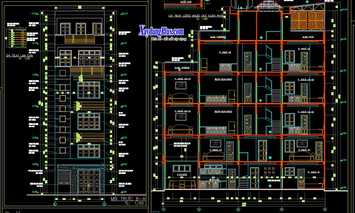 Hồ sơ mẫu nhà phố 5 tầng rưỡi 5x16m