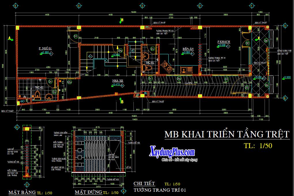 Hồ sơ mẫu nhà phố 5 tầng rưỡi 5x16m Hồ sơ mẫu nhà phố 5 tầng rưỡi