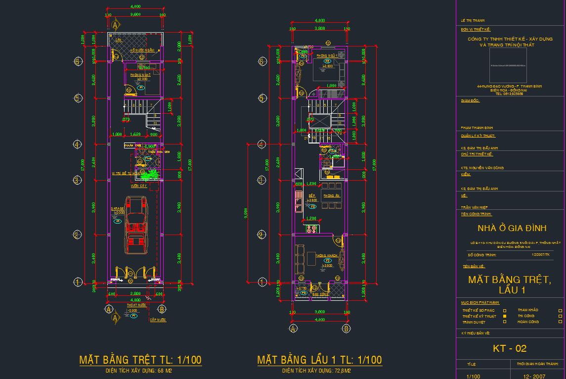 Hồ sơ thiết kế nhà phố 4 tầng 4x17m Hồ sơ thiết kế nhà phố 4 tầng