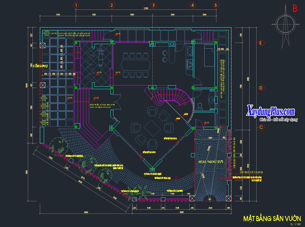 Mẫu biệt thự 4 tầng 15x12m Mẫu biệt thự 4 tầng