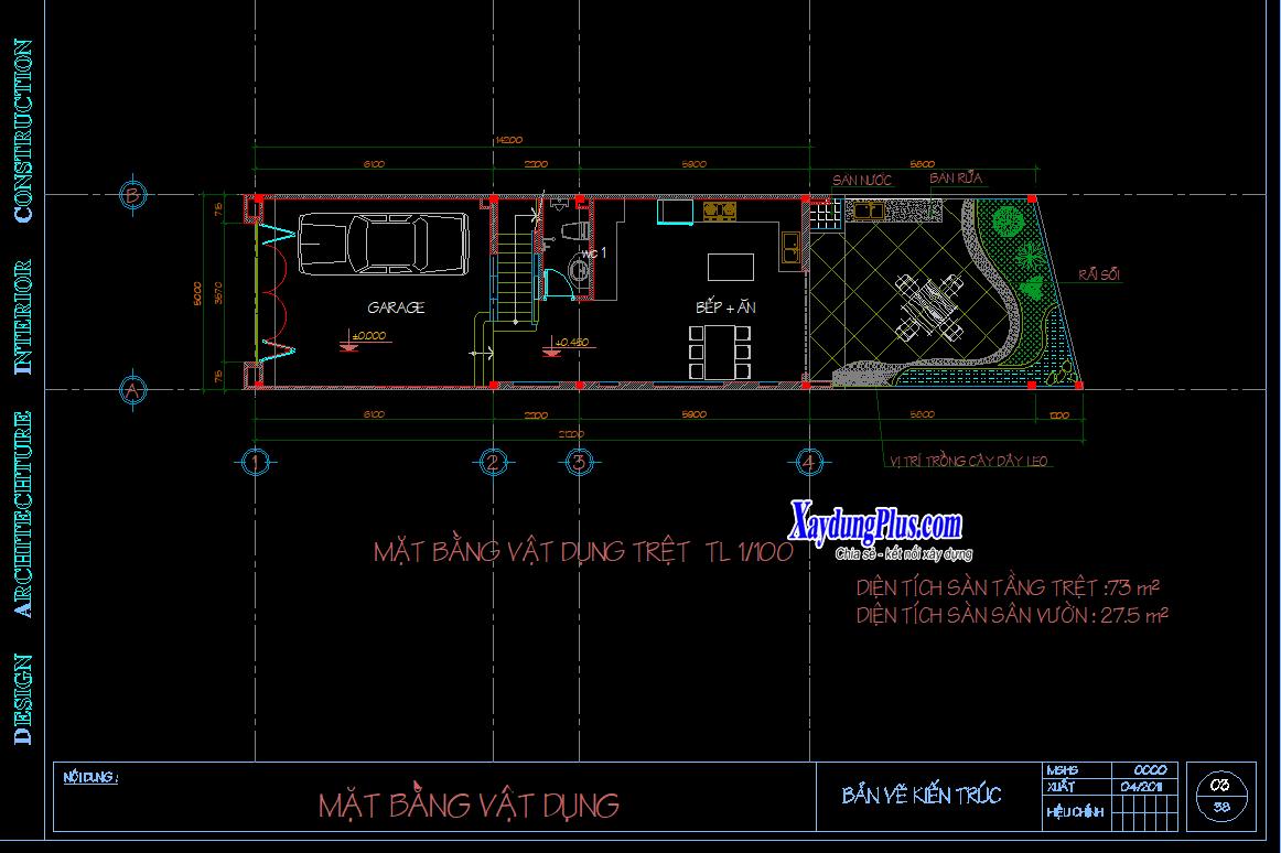 Mẫu nhà phố 3 tầng 5x21m