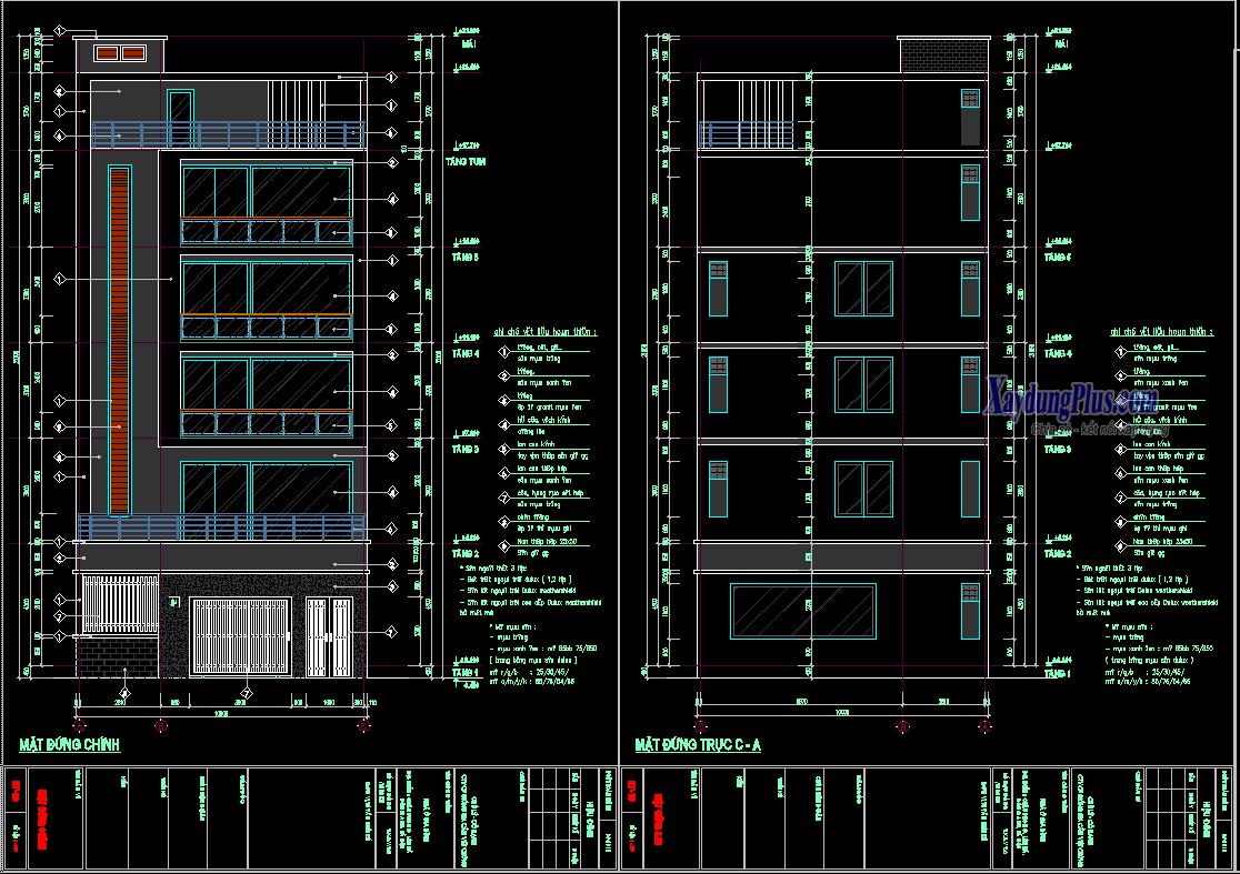 Hồ sơ bản vẽ nhà phố 6 tầng 10x19m