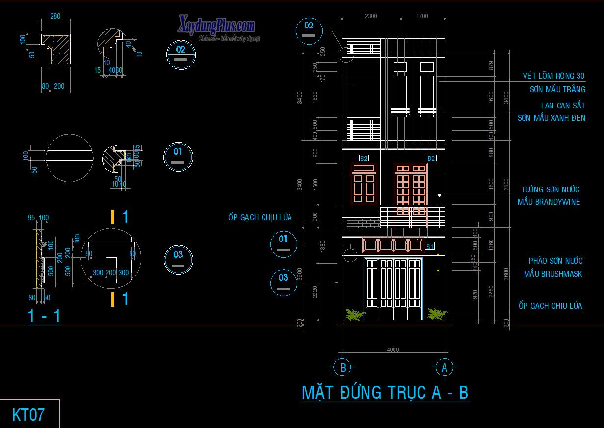 Hồ sơ kiến trúc nhà phố 3 tầng 16x4m