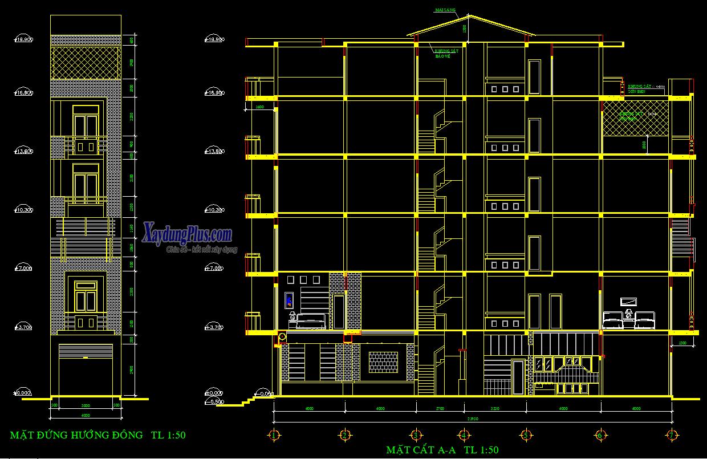 Hồ sơ mẫu nhà phố 5 tầng 4x22m