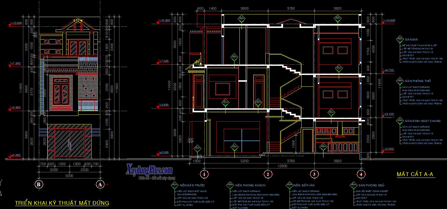 Hồ sơ mẫu nhà phố 5x14m 3 tầng đẹp