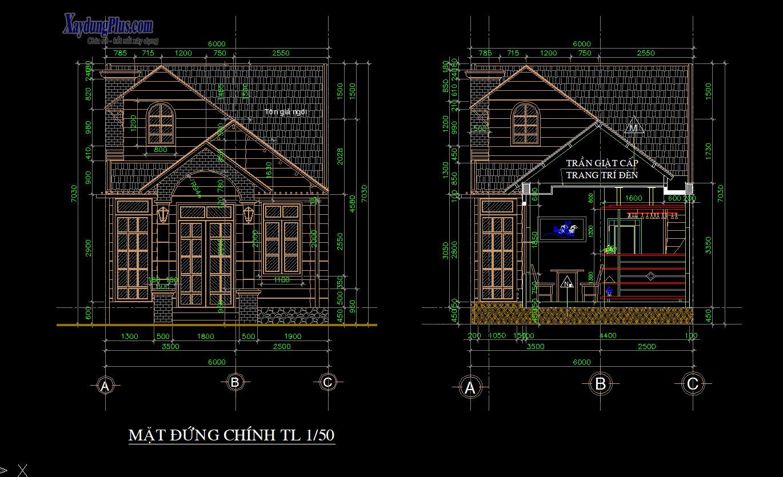 Mẫu bản vẽ nhà cấp 4 6x24m