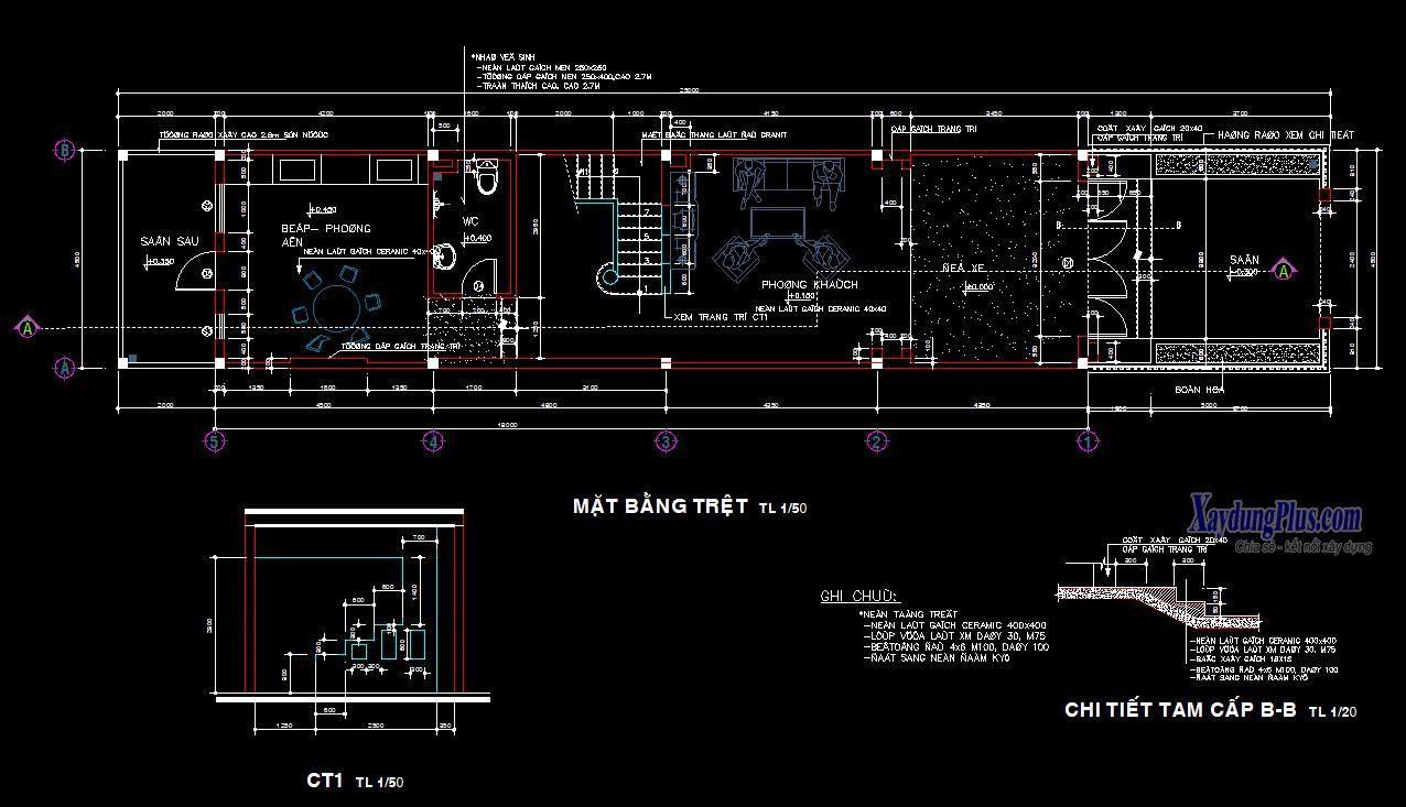 Mẫu hồ sơ nhà liền kề 2 tầng rưỡi 5x18m Mẫu hồ sơ nhà liền kề 2 tầng rưỡi