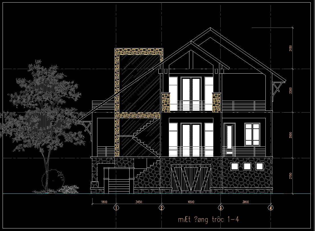 Hồ sơ mẫu nhà dân 3 tầng 18x14m