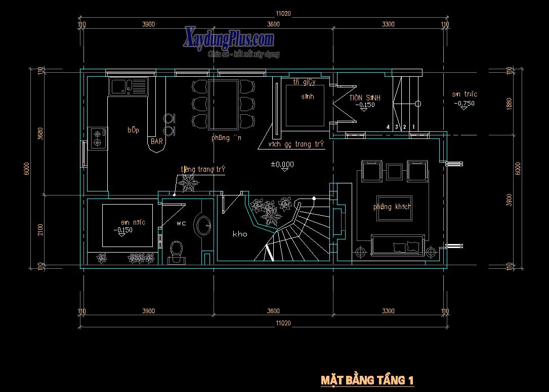 Hồ sơ mẫu nhà phố 3 tầng 6x11m Hồ sơ mẫu nhà phố 3 tầng